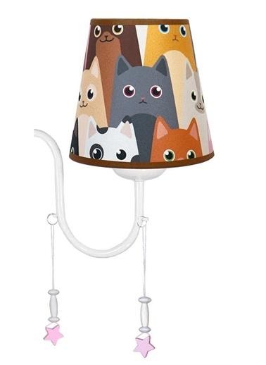 Şenay Aydınlatma 3'Lü Şapkalı Kumaş Avize-Sevimli Kediler Renkli